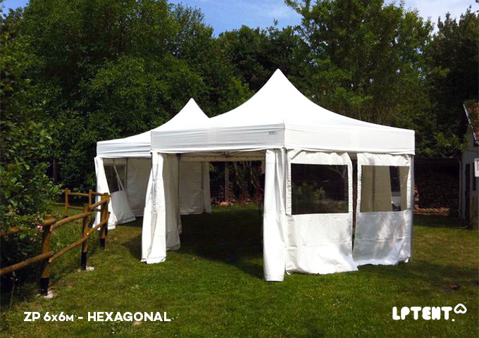 LPTENT Carpa-plegable-profesional--Carpa-ZP-6x6m-hexagonal
